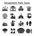 amusement park festival icon set vector image