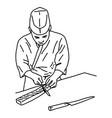 asian chef filleting fish to make sushi vector image
