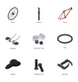 bicycle tool icons set cartoon style vector image