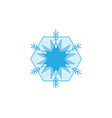 blue geometric snowflake sign on white background vector image