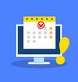 calendar date as deadline notification on computer vector image