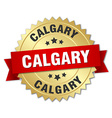 Calgary round golden badge with red ribbon vector image vector image