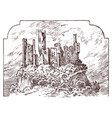castle on a hill ancient landscape for the label vector image vector image