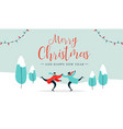 christmas card young couple ice skating outdoors vector image