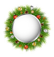 christmas greeting card with christmas wreath vector image