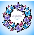 colorful butterflies circle frame pattern vector image