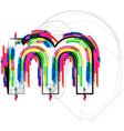 Colorful Font - Letter m vector image vector image