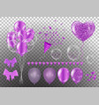 confetti and set purple ribbons bunch of birthday vector image vector image