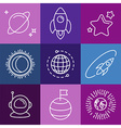 cosmic signs and line icons vector image