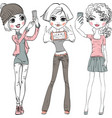 cute girls make selfie vector image vector image