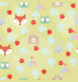 cute teddy bearfoxowlrabbit cartoon seamless vector image vector image