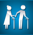 elderly couple with walk cane family protection vector image vector image