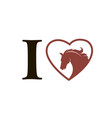 emblem of horse in heart vector image
