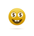 emoticon with dollar sign vector image vector image