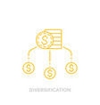 financial diversification line icon with coins vector image
