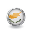 flag of cyprus button with metal frame and shadow vector image