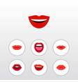 flat icon mouth set of lipstick teeth lips and vector image vector image
