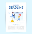 flyer with title business deadline man in a suit vector image