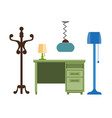furniture pieces living room lamp hanger chest vector image vector image