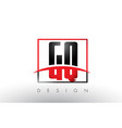 gq g q logo letters with red and black colors and vector image vector image