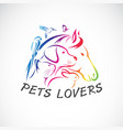 group pets - horse dog cat humming bird parrot vector image vector image