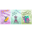 happy birthday cute greeting cards vector image