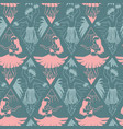 hawaiian hula dancers seamless pattern pink vector image