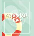 hello summer banner lifebuoy season vacations vector image