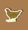 hen paper sticker on stylish background vector image