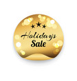 holidays sale text on golden stamp blurred element vector image