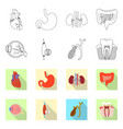 isolated object of body and human logo set of vector image vector image