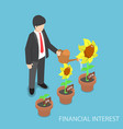 isometric businessman watering different size of vector image
