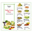 italian cuisine menu template vector image