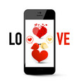 love message symbol on mobile phone with hearts vector image vector image
