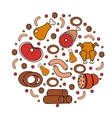 Meat and sausages icon set in round shape a vector image vector image