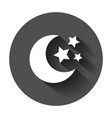 nighttime moon and stars icon in flat style lunar vector image