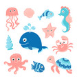 ocean set with cartoon sea animals vector image vector image