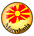 orange button with the image maps of Macedonia vector image vector image