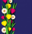 paper cut spring flowers tulip and chamomiles vector image