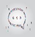 people crowd gathering in chat bubble speech icon vector image vector image