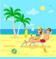 people relaxing on beach sunbathing couple summer vector image vector image