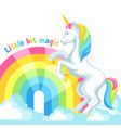 print or card with unicorn and fantasy items vector image