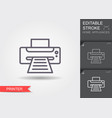printer line icon with editable stroke vector image