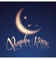 Ramadan Kareem greeting lettering card with moon vector image vector image
