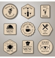 Restaurant menu labels vector image vector image