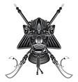 samurais mask with pair naginata vector image