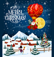 santa claus on christmas balloon vector image vector image