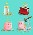 savings money set piggy bank moneybox purse vector image vector image