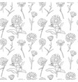seamless pattern with calendula flowers vector image vector image