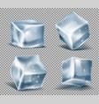 set blue ice cubes frozen icy blocks vector image vector image